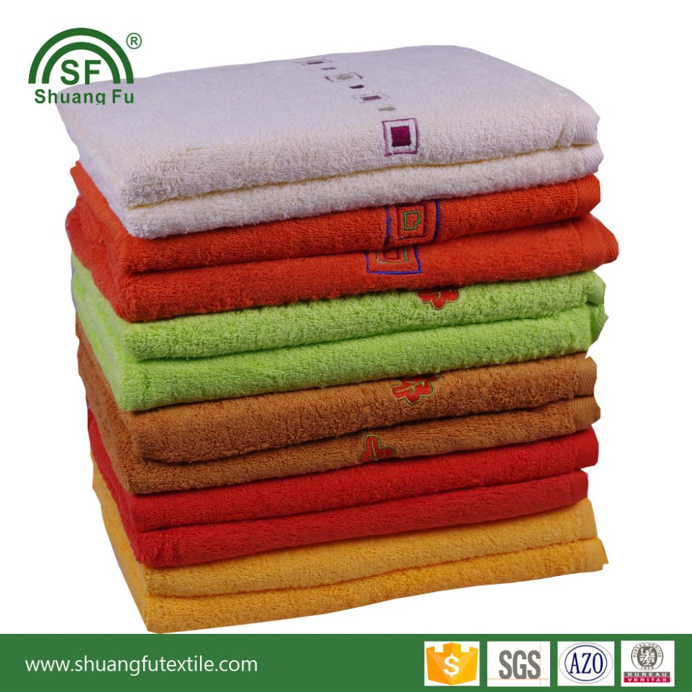 Free Sample 100% Cotton Embroider Bath Towels