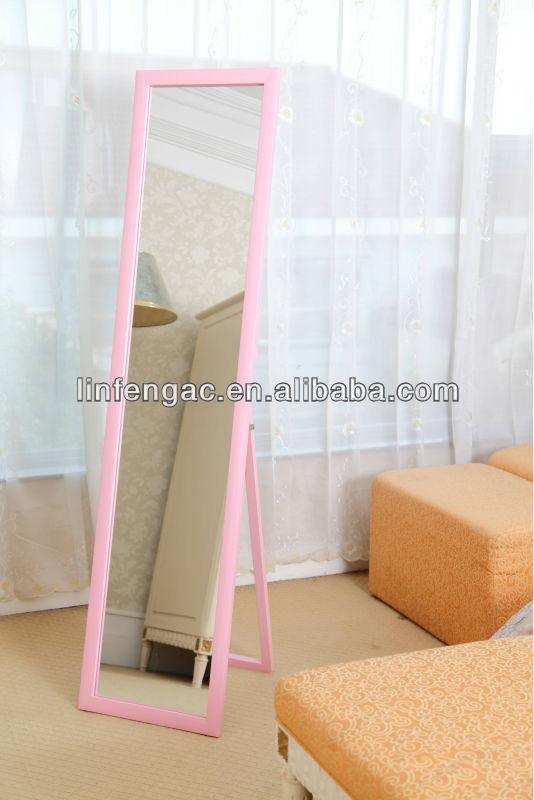 Lovely Pink Mdf Framed Standing Floor Mirror For Modern Bedroom Furniture Stand Product