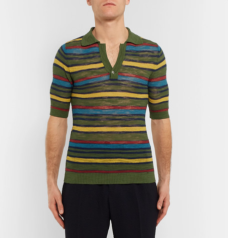 Slim-Fit Striped Knitted Cotton-Blend short sleeves Polo Shirt