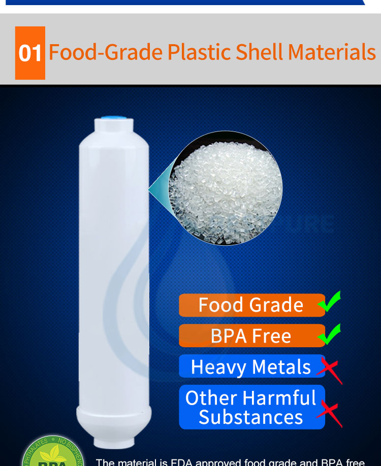 Reverse Osmosis RO inline post activated carbon water filter cartridge