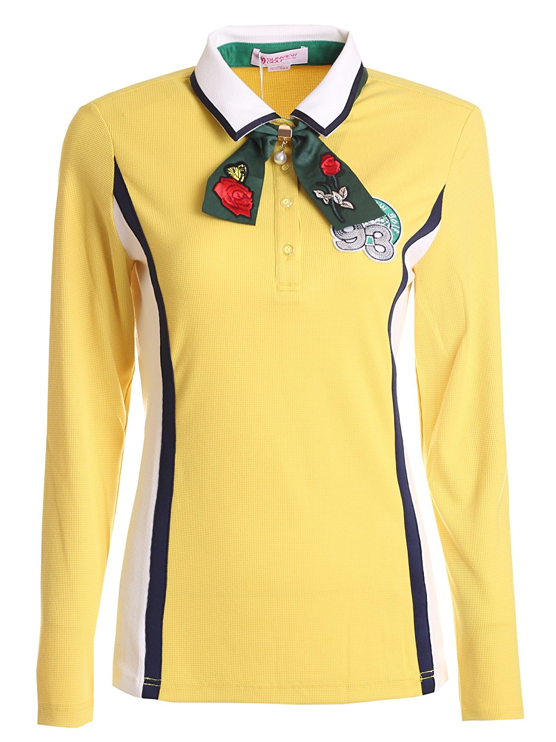 SunviewGolf Women's New Long Sleeve T-Shirt Bow Tie Golf Sport Knitted Polo Tops