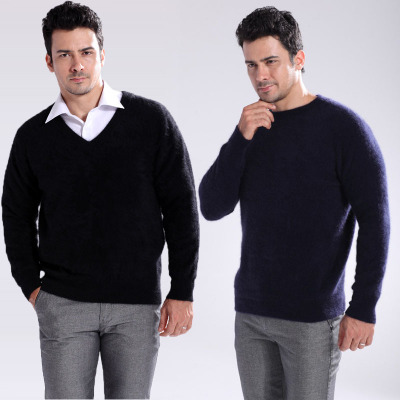 cf9021bf93dd3 new men's solid color knitted mink cashmere sweater men knit v-neck and o-