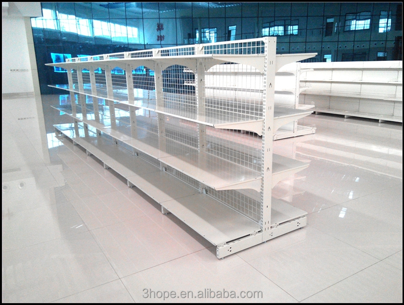 Low Price-mesh Back Supermarket Gondola Shelving