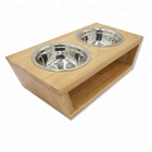 Premium Elevated Dog and Cat Pet Feeder Double Bowl Raised Stand Comes with Two Stainless Steel Bowls Perfect for Dogs and Cat