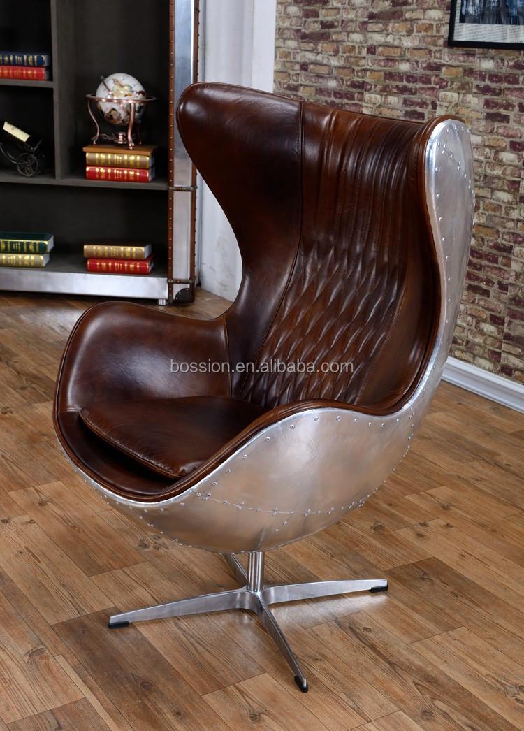 Arne Jacobsen Vintage Style Aviator Leder Egg Chair