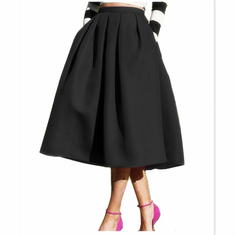 25554a0a9504f Get Quotations · Knee Length Midi Skirt 2015 Autumn Summer High Waist Ladies  Skirts Female Pleated Vintage Tutu Black