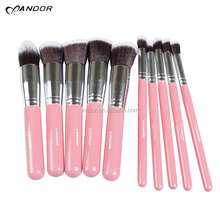 China factory custom logo best professional makeup brushes pink color 10 pcs