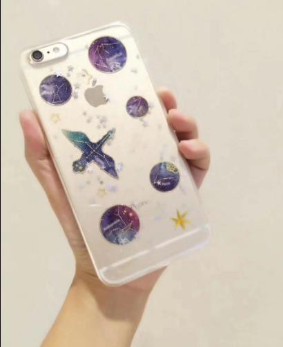 The jade rabbit flying eagle star series Transparent Clear Acrylic Epoxy Glitter phone Case For iPhone 7 8 7plus 8plus