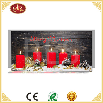 mini led painting candle design picture wholesale with canvas frame