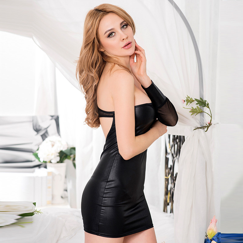 Sexy black imitation leather bandage dress 2016