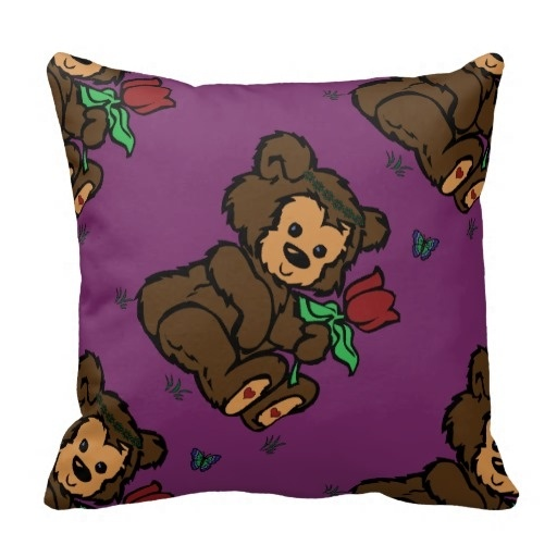 Serious Hippie Bear Headband Flower Butterfly Throw Pillow Case (Size: 20