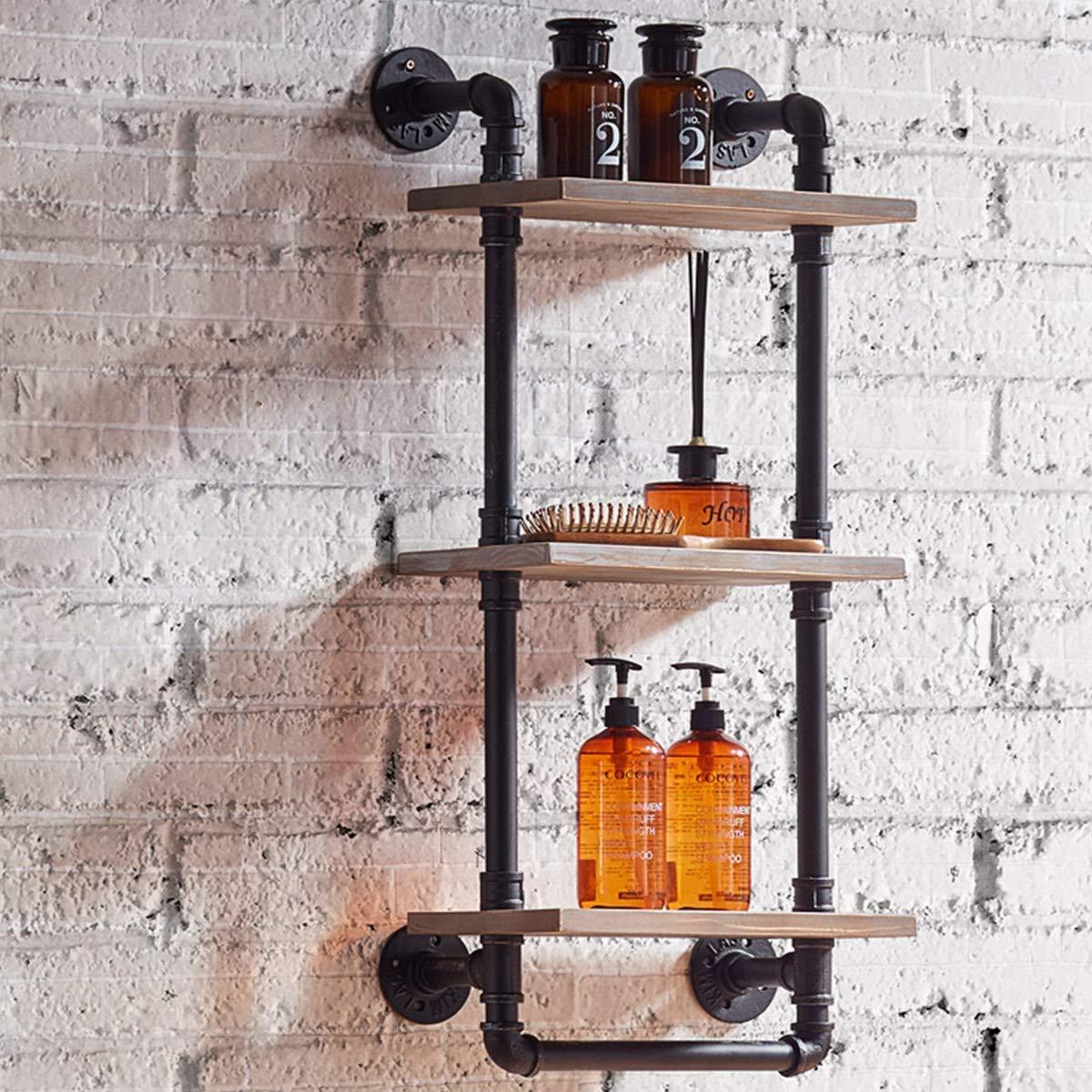 Warm Van Industrial Pipe & Wood Wall Mount Shelves,Retro Clapboard Tool Shelf,Bathroom Kitchen Accessories Storage Cabinet,Towel Rack