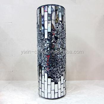 Tall Big Silver Black Mirror Mosaic Glassware Wholesale Mirrored