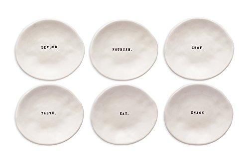 Rae Dunn Magenta Word Eating Dishes Set of 6 Small Plates Appetizer Dessert ~ Devour. Nourish. Chow. Taste. Eat. Enjoy.