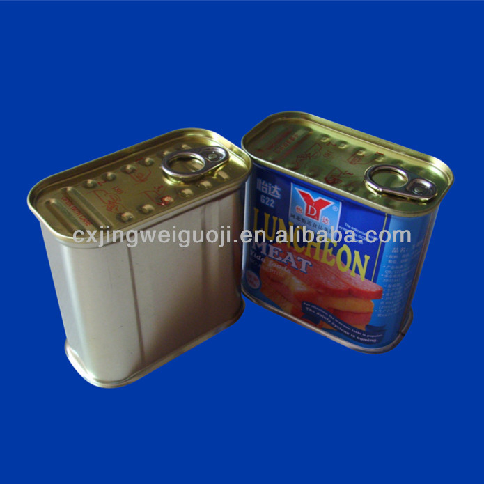 Printed Empty Rectangle Food Tin Can for Luncheon Meat