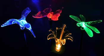 Solar Stake Flower, Hummingbird, Butterfly And Dragonfly Garden Stake Lights,  Four Pieces Set