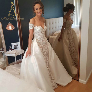 9500544004ce Lace Bridal Gown Sexy Dubai 2017 Sweetheart Removable Short Sleeve Mermaid  Plu Size Wedding Dress With