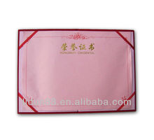 PU certificate folder for graduation certificate with gold stamping
