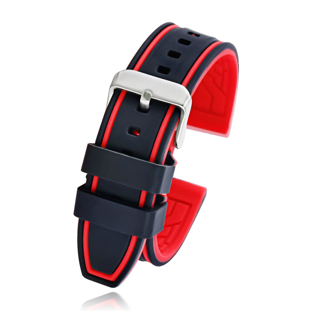 e8b8378338b 22mm Black Silicone Rubber Sport Diver Watch Band Strap White Stitch  rd2211c bi