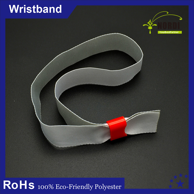 fabric wristband with plastic clasps