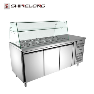 2 Doors and Counter Top Display Refrigerated Salad Bar Work Bench With Glass Cover