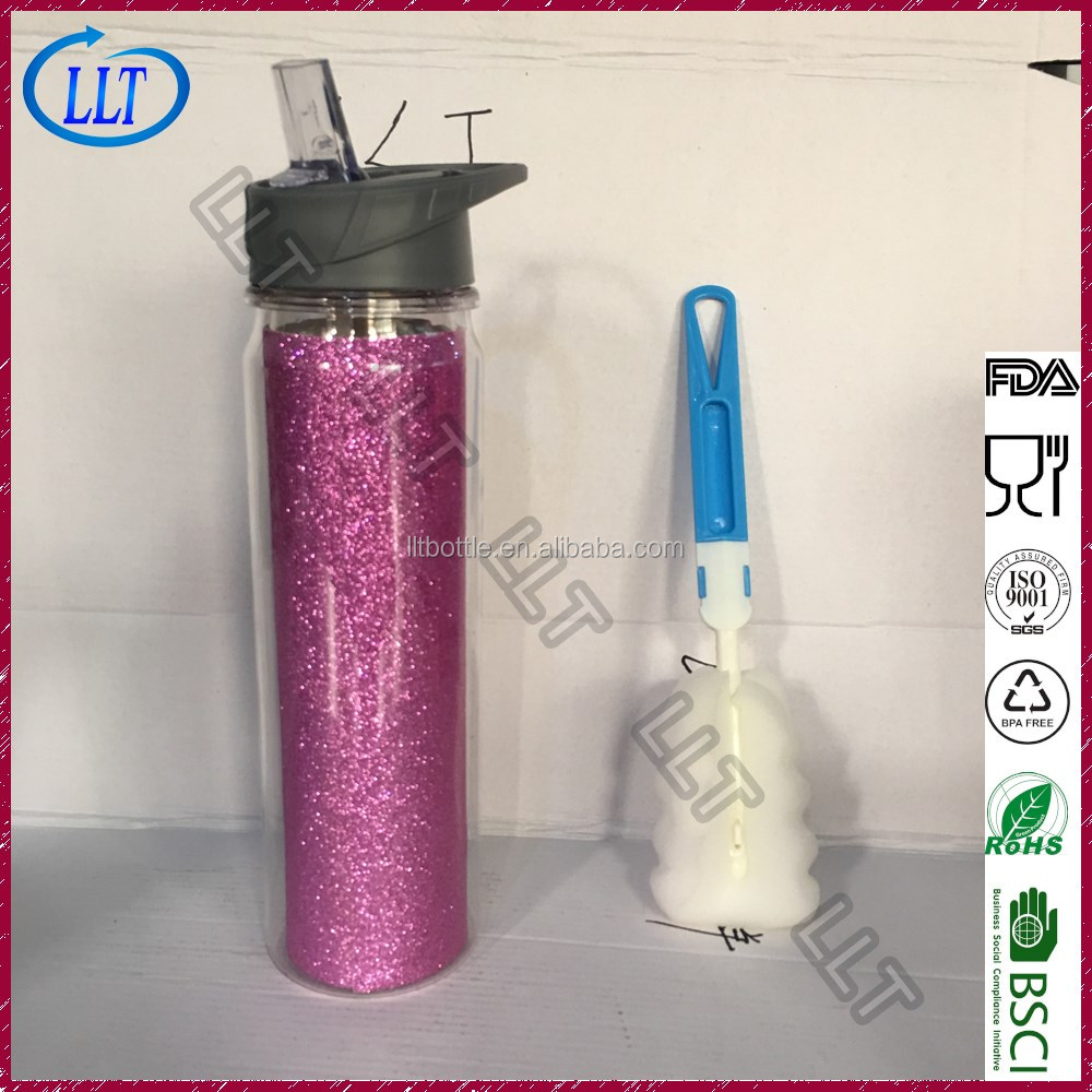 wholesale drinkware glitter insert plastic water bottle with straw