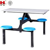 Custom Made Industrial 4-seat Round Shaped Dining Table for Staff Canteen