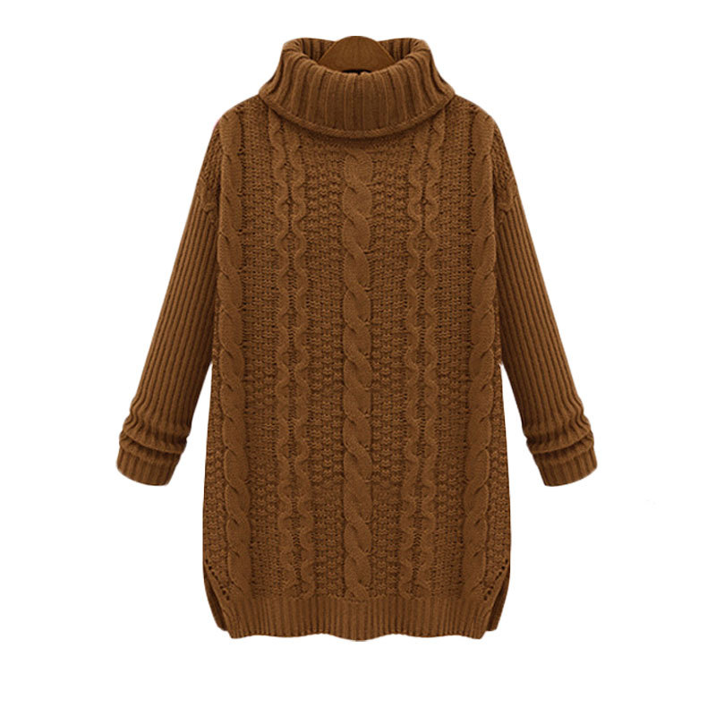 Autumn Womens Sweater Long Sleeve Turtle Neck Brown Sweater Casual Oversized Sweater Women Tops Vestidos Pullovers Female