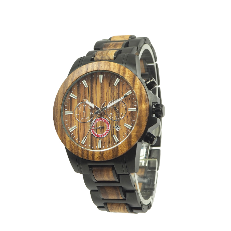 <strong>HOT</strong>! Dropshipping Japan movt wood with stainless steel watches