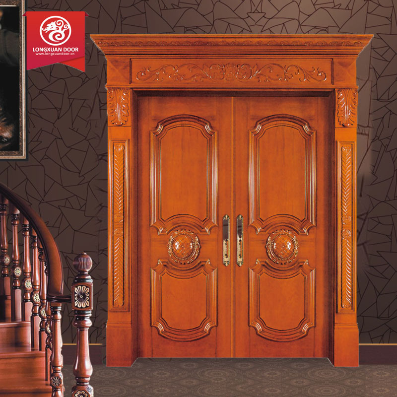 Double swing entry interior wood door solid wooden door in guangzhou buy double interior wood - Swinging double doors interior ...