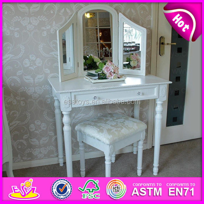 Indoor Bedroom Set Furniture Antique Dressing Table with Stool & Mirror W08H019