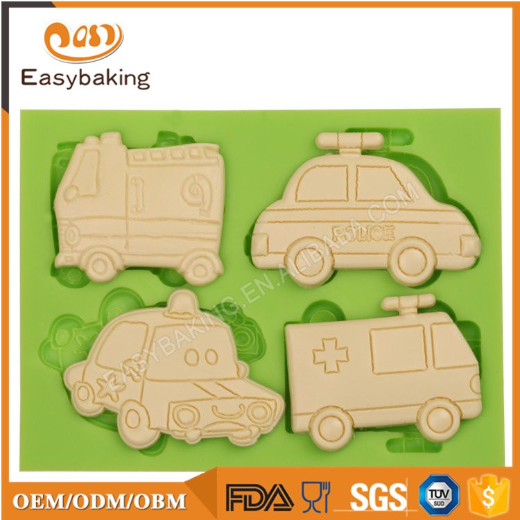 ES-6408 Cars Shape Fondant Mould Silicone Molds for Cake Decorating