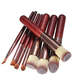 Professional Red wine wood handle kabuki 8 Pieces Makeup Brushes Set