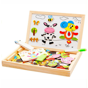 Multi Functional Baby Toy Farm Jungle Animal Wooden Magnetic Educational Kids Jigsaw Puzzle Drawing Board