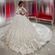 FA22 2017Wedding Bridal Gowns See Though Bow Back Bride Dress Romantic Lace chapel Wedding Dresses zipper back Long Sleeves