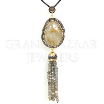 Druse Tassel Necklaces 925 Sterling Silver Jewellery Handmade