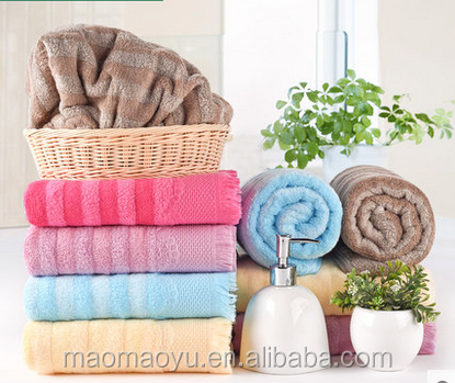 China wholesale stripe bamboo cotton water absorption bath towel for home restaurant hotel