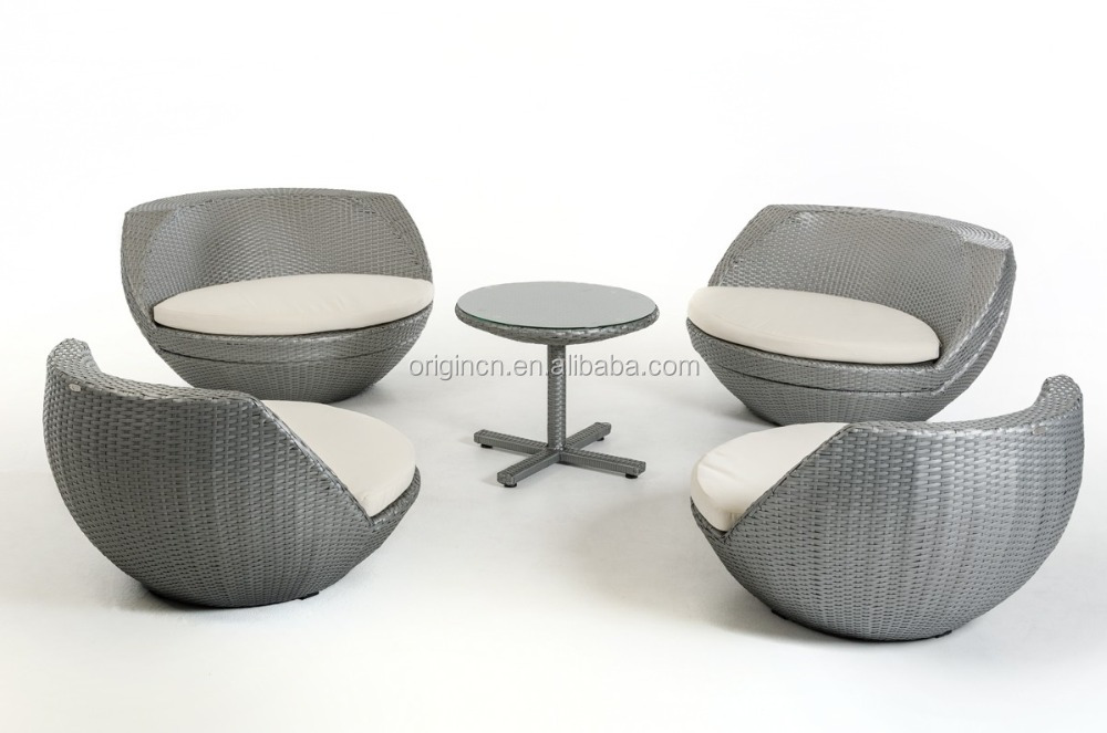 5 Pcs Global Ball Egg Shaped Stackable Silver Grey Rattan Single Chairs  Outdoor Wicker Furniture
