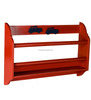 red finish wood MDF 2 tier wall shelf,bathroom wall shelf with towel bar