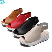 HFS1204A Summer Peep Toe Ladies Wedge Sandals Platform Leather Shoes