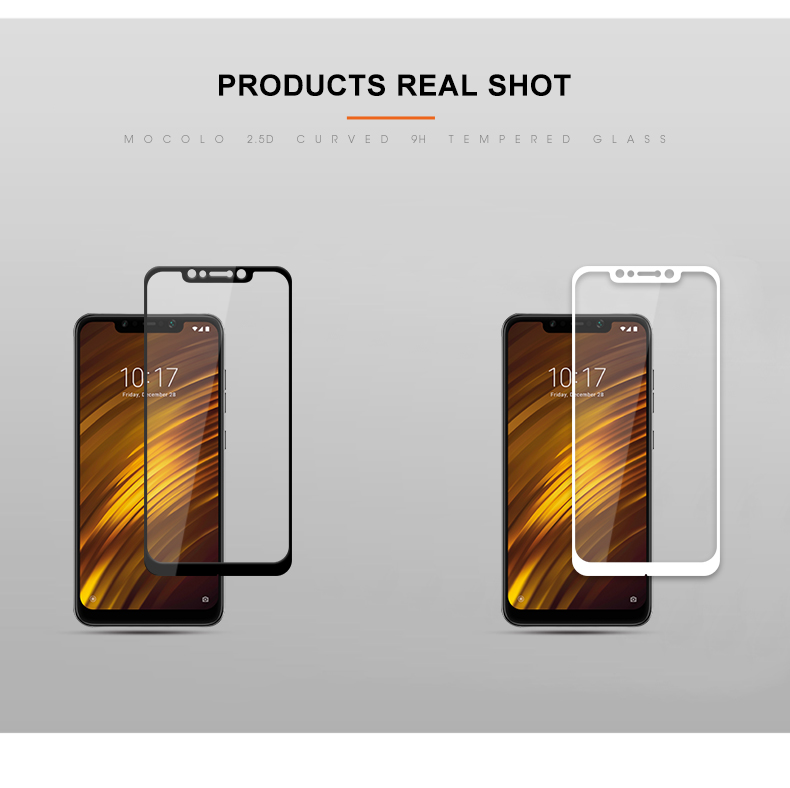 Mocolo Screen Protector Glass With Frame Tempered Glass for Xiaomi Pocophone F1