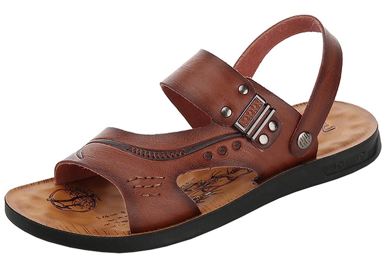 f8664595864ee Get Quotations · Vocni Men s Open Toe Casual Leather Comfort Shoes Sandals  Leather Sandals for Men Men Open Toe