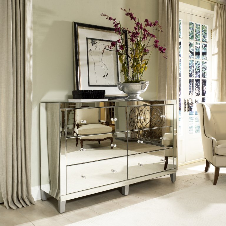 venetian stlye mirrored drawer chest dresser - buy