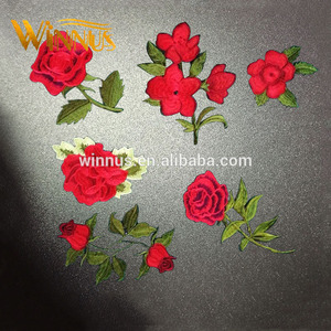 cheap wholesale fashion design clothes stick iron on 3d flower embroidery rose pactches