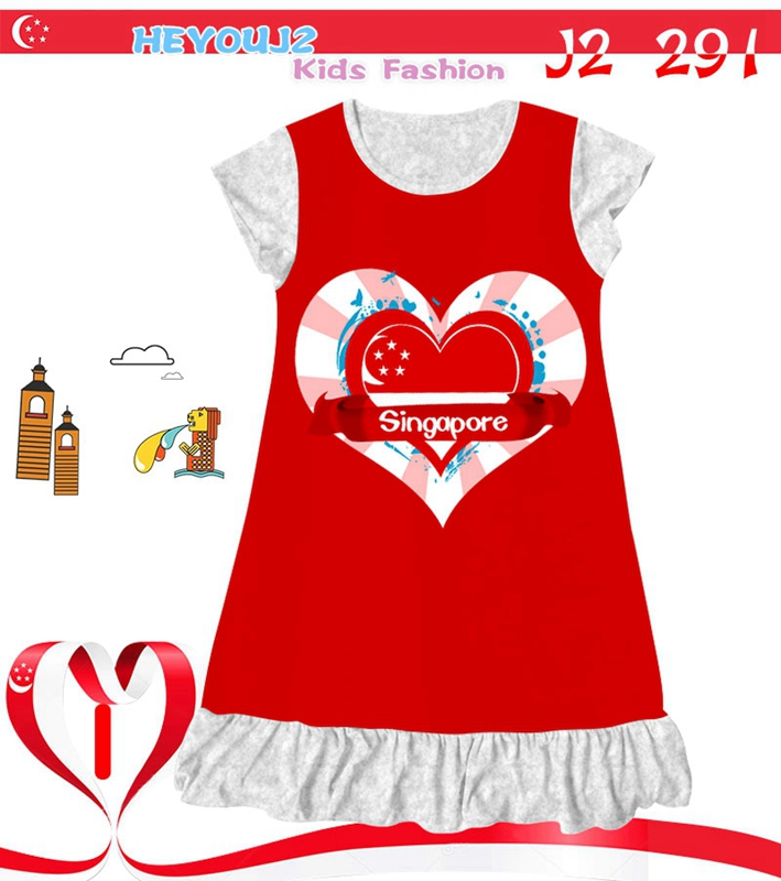High quality made in China customeized kids dress fancy Singapore National day girl nightgown