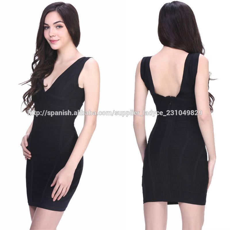 eec3cf99c maduros v cuello negro cortos vestidos baratos apretados elegantes en línea
