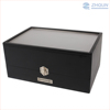 Professional Custom 6 Slot Black Glossy Lacquered Wood Wine Glass Packing Storage Box