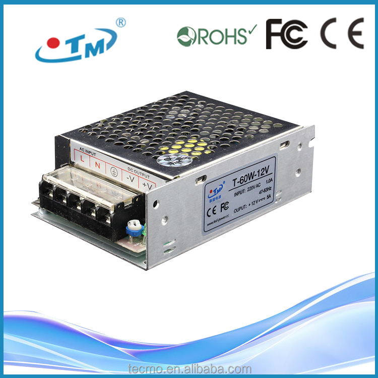 220 volts to 110 volts converters constant voltage 12 volt 5 amp led driver with CE, FCC, Rohs
