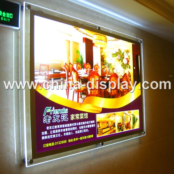 Indoor Advertising Led Picture Frames Crystal Acrylic Light Box ...