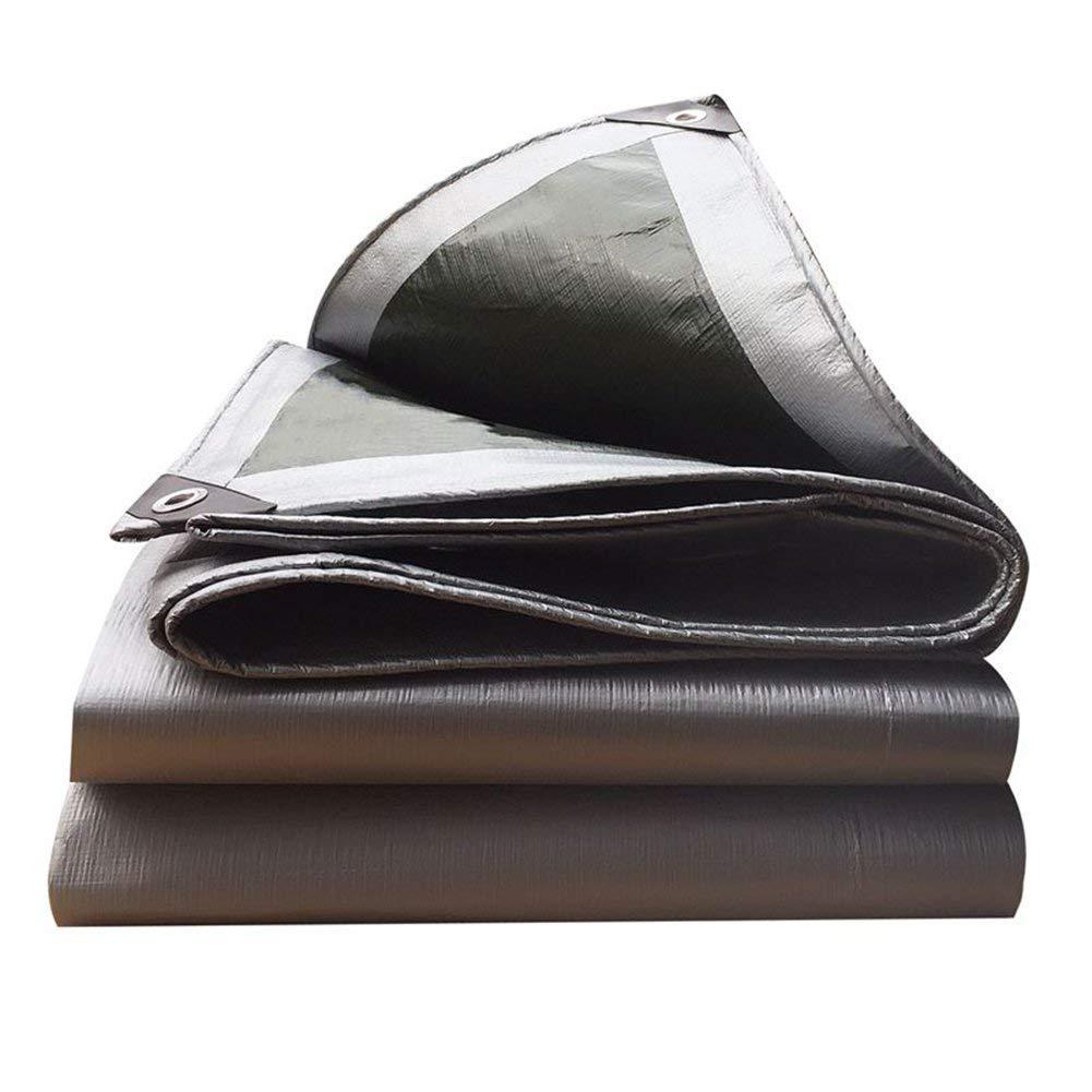 PENGFEI Tarpaulin Waterproof Rain Cloth Outdoor Sun Protection Dust-proof Shade Car Plastic Shed Cloth Anti-oxidation, Silver + Green, 11 Size (Size : 6x10M)